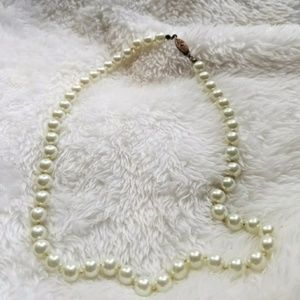 Vintage Faux Glass IVORY Pearl Costume Necklace